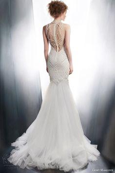 gemy maalouf 2015 bridal sleeveless sheath wedding dress art deco beading style 4195 back view train