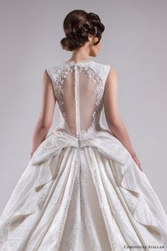 chrystelle atallah bridal spring 2015 sleeveless ball gown wedding dress scalloped neckline illusion back view medium