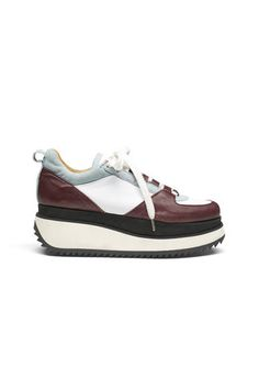 Naomi Leather Sneakers, Cabernet/White/Quarry