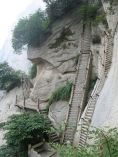 The Deadly Mt Huashan Hiking Trail.  Why on earth would people do this!  seriously... go check out the other photos of this!