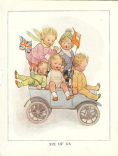 Vintage 1920s  Childrens Print - Six Little Children Riding In A Toy Car Waving Flags Blowing Horn. Ideal For Framing.
