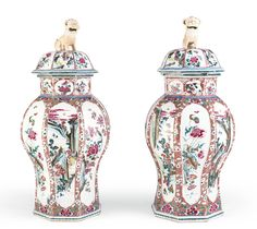 A PAIR OF FAMILLE-ROSE OCTAGONAL VASES AND COVERS<br>QING DYNASTY, YONGZHENG PERIOD | Lot | Sotheby's