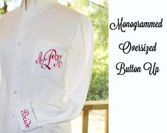 Personalized Bridal Party Shirt -Monogrammed Oversized Shirts, perfect for getting ready on your big day!  This listing is for 1 monogrammed oversized shirt.  ●✿● White only shirts are 20.00 They are made of 55% cotton/45% polyester twill. These are good quality.  ●✿● When you order colored shirts and white shirts together or colored only they are 25.00 each. These are better quality. They are made of 55% cotton/45% polyester twill.  I embroider the pocket with the monogram of each member…