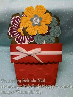 "Stampin' it up with Belinda: Flower Pot Cards Stamps: Mixed Bunch. Colors: Blackberry Bliss, Hello Honey, Mossy Meadow, Cajun Craze, Lost Lagoon & Whisper White. Punches: Blossom, Petite Petals, 1/2"" Circle & Scallop Edge Border. Extras: Honeycomb Embossing Folder & Whisper White Stitched Ribbon."