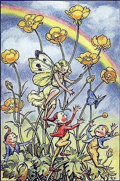 Pixies Where the Rainbows Play--Vintage Fairy Illustration