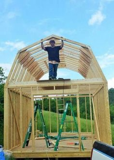 gambrel roof sheds have lots of loft area Shed Building Plans, Diy Shed Plans, Barn Plans, Building Ideas, Building Design, Building Homes, Petits Hangars, Shed With Loft, Tiny Cottages