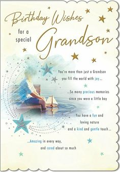 To A Special Grandson On Your Birthday Greeting Card - 9 x Inches 5053349202104 Happy Birthday Grandson Images, Grandson Birthday Quotes, Birthday Poems, Grandson Quotes, Daughter Quotes, Funny Birthday, Birthday Verses For Cards, 21st Birthday Cards, Birthday Greeting Cards