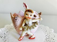 SOLD!! Reserved for Donna M.-Vintage Lefton Easter Bunny Rabbit Girl Ballerina Egg Red Polka Dot Spaghetti Trim Pink Figurine Japan 1950's