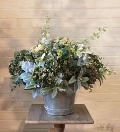 Dried Green Hydrangeas, Dusty Miller leaves and Eucalyptus http://www.countryaccentfloralboutique.com/pages/artificial-flower-image-gallery #artificialflowers #homeideas #homedecor #homedecorating #decoration #decor #arrangement #weddingdecor #silkflowers #eventdecor #CountryAccent #floral #boutique #Australia