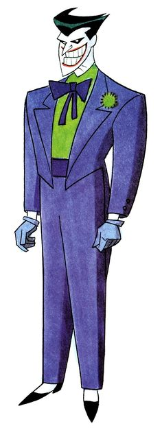 The Joker's redesign for The New Batman Adventres (also known as Gotham Knights) by Bruce Timm, in 1997. Note how he still had his red lips before they were removed.