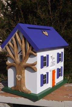 Wedding Card Box Birdhouse with Heart Carved Tree. $149.00, via Etsy.