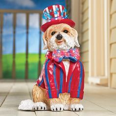 Patriotic Dog Garden Statue with Fiber Optic Lights
