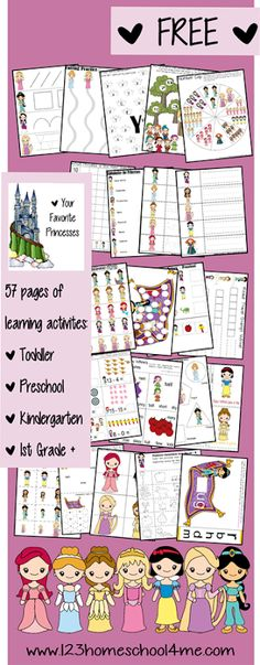 Your Favorite Princess Pack is filled with learning fun for Toddler, Preschool, Kindergarten, 1st, and 2nd grade kids! Lots of alphabet, math, language arts, and more practice with fun worksheets. #freeprintable #princess #worksheets