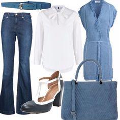 Un look per tutti i giorni ma elegante ed essenziale. Ho scelto un paio di jeans a zampa abbinati ad una camicia bianca a manica lunga della Benetton, sopra un cardigan lungo con cintura in vita e senza maniche. Décolleté blu navy ed una borsa a mano carta da zucchero, in simil pelle.