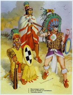 "Elite Huexotzincan warrior, Tlaxcallan general, Coixtlahuacan or Cholulan warrior-priest While the tlahuiztli body-suits were predominantly worn by the Aztecs, they were also worn by other allied and enemy nahuatl speakers of the area. Source: Osprey Military Men-At Arms series ""Aztec, Mixtec and Zapotec Armies"" by John Pohl. Illustrator: Angus McBride."