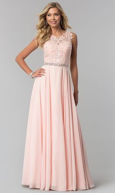 On Sale Morden Long Lace-Applique Chiffon Long Prom Dress Prom Dresses Long Modest, Light Pink Bridesmaid Dresses, Classy Prom Dresses, Pink Prom Dresses, Junior Bridesmaid Dresses, Formal Evening Dresses, Dance Dresses, Homecoming Dresses, Junior Formal Dresses