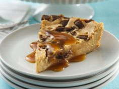 Impossibly Easy Toffee Bar Cheesecake - looks like the toffee almond bars that Starbucks used to have!