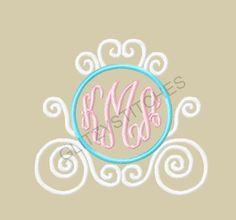 NEW Design  Monogram Circle Princess Carriage by glitzystitches, $3.75