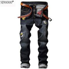 5b46f6c23eb8 Newsosoo 2017 fashion designer men s casual hole ripped jeans Male slim  straight patch denim pants Long trousers black MJ63-in Jeans from Men s  Clothing ...