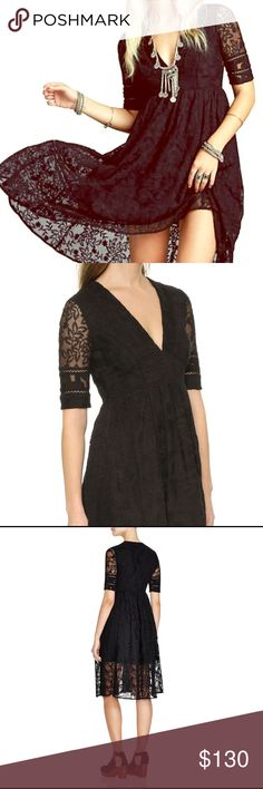🔥 NWOT Free People mountain laurel lace dress Beautiful FP black layered dress with plunging neckline. Midi length. Pretty black lace. Never worn! Free People Dresses Midi