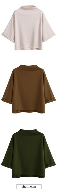 Mock neck drop shoulder high low cuffed T-shirt.40% off 1st order!