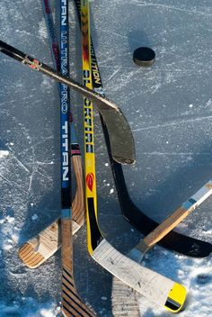 """""""Pond hockey"""" by Filip Smola: A collection to sticks prior to playing some pond hockey, with a group of friends in Northern Ontario"""