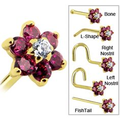 Solid 14KT Yellow Gold Red and Clear Cubic Zirconia Flower Nose Ring #bodycandy #flower #gold $84.99