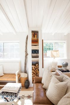 This 1959 California ranch house is graced with abundant natural light and a striking exposed-beam ceiling.