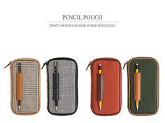 Indigo 2014 Ver2 Cowhide Pencil Pen Holder Pouch Case School Supplies HandMade #Indigo