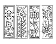 Blooming spring- Coloring Bookmarks Page, Instant Download, Relax Mandala Designs to Color for Adults to Print and Color