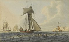 Taking crew to an english frigate, near the Needles, Isle of Wight, 1784