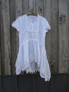 Prairie Girl Dress Tunic Cap Sleeves Boho by FreeRangeRags on Etsy