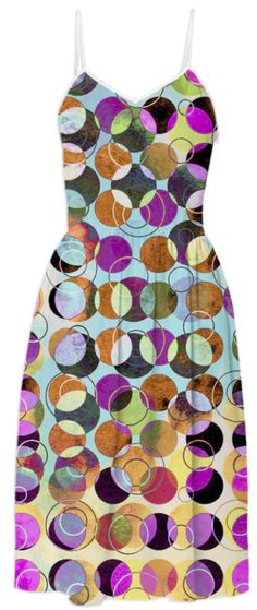 MELANGE OF CIRCLES IV - Summer Dress 3 from Print All Over Me #art #pattern #circles #dots #colorful #printalloverme #ateliercolourvision #summerwear #women #dress