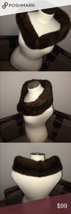 """🌺🌈🌸10 min SALE 🌺🌈🌸 Vintage Mink Stole 🌺🌈🌸10 min SALE 🌺🌈🌸 Vintage Mink Stole / wrap with clips on each end. Great collection to any closet ❤️ real Mink fur with velvet lining. In excellent condition. 38"""" long. Brown Mink Jackets & Coats"""