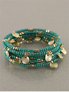 Turquoise & Gold Bangle Bracelet by StringofLove on Etsy, $25.00