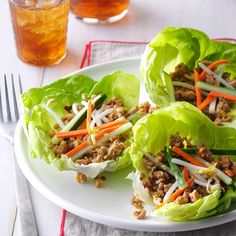Asian Lettuce Wraps Recipe -This recipe is as tasty as the lettuce wraps found in national restaurants, but it's healthier! — Linda Rowley, Richardson, Texas