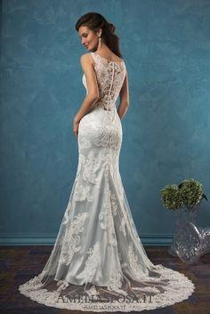 Amelia Sposa V-neck Lace Wedding Dresses Damiana2 / http://www.deerpearlflowers.com/amelia-sposa-2017-wedding-dresses/2/
