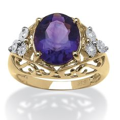 3.23 TCW Oval Amethyst and Diamond Ring in 14k Gold Over Sterling Silver