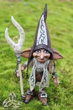 Mugwart Magical Troll Wizard OOAK Art Doll custom sculpted with Love    Made from Fimo clay over wire armature with detail to be realistic looking.