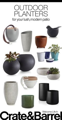 Find sleek shapes and unexpected details to make your outdoor space live fresh. Outdoor Planters, Outdoor Gardens, Backyard Patio, Backyard Landscaping, Patio Accessories, Modern Patio, Crate And Barrel, Water Features, Interior Design Living Room