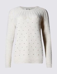 Size XL M & S INDIGO COLLECTION Bead Embellished Jumper with Wool, Cream   | eBay