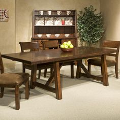Laurelhurst trestle table with self storing leaves by for S f furniture willmar mn