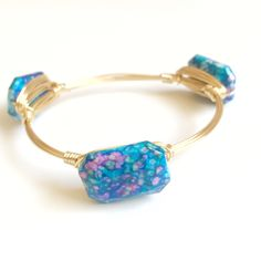 Blue Speckled Wire Wrap Bangle