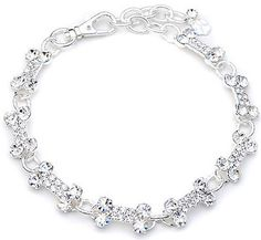 Pet Jewelry Clear Crystal All Bones Australian Crystals Sparkly Sterling Silver Plated