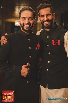 black bandhgala coat, black sherwani, red pocket square, gold buttons, velvet sherwani,