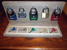 diy lock board for busy hands - I would attach the keys to the board with string or lightweight chain however so they don't get lost :)