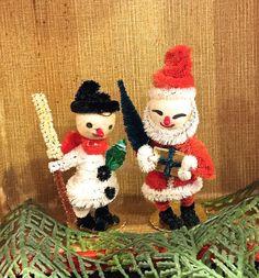 Vintage Spun Cotton Santa and Snowman, Chenille Body, 2 Ornaments, Bottle Brush Tree, Snowman Broom, Japan, 1950s