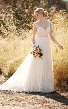D2038 Illusion lace wedding dress with tulle skirt by Essense of Australia