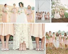 Sources (clockwise from top left): 1- Honey Honey Photography; 2- Stacy Jacobsen Photography/Forever 21 via Style Me Pretty; 3- Eric Kelly Photography via Wedding Party; 4- mbphoto via Love Luxe; 5- April Smith Photography via Once Wed   peach bridesmaid dresses #wedding