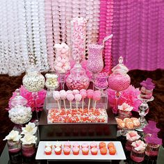BASH Event Planning is a premiere candy buffet, candy table and dessert table service. BASH Event Planning candy buffet in Atlanta Rosa Desserts, Desserts Roses, Buffet Dessert, Pink Dessert Tables, Pink Table, Lolly Buffet, Food Buffet, Dessert Ideas, Pink Candy Buffet